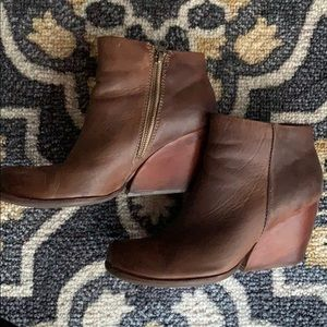 Chunky Heel Brown Ankle Bootie